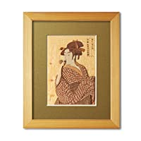 KINOWA 「ポッペンを吹く娘」 木はり絵 オリジナル キット & 額縁 セット 浮世絵 歌麿 日本製