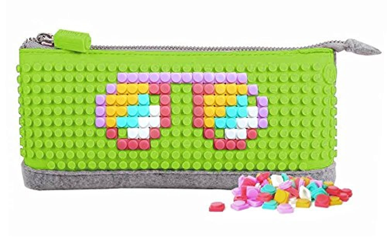 Upixel ペンシルケース 筆箱 B002 アップルグリーン フリーチップ80ピース付属 レゴ LEGO コンセプト ドット絵 マイクラ 脳トレ ゲーム オリジナル