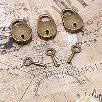 古い古風ヴィンテージアンティークスタイルミニ南京錠キーロック付きキー(ロットの3)小さな南京錠用ハンドバッグ