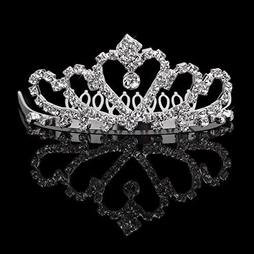 Tinksky 優雅な結婚式ブライダル ウエディング輝く結晶ラインス トーン クラウン ティアラ ヘッドバンド櫛 (シルバー)