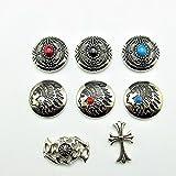 C9 レザークラフト コンチョ ボタン 飾りボタン 金具 ネイティブ 財布 バッグ 取り付け金具 全てに付属! (C-9)
