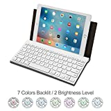 Portable Bluetooth Keyboard with 7-Colors Backlit Raydem Universal Wireless Bluetooth Keyboard Aluminum Alloy with Leather Hol..
