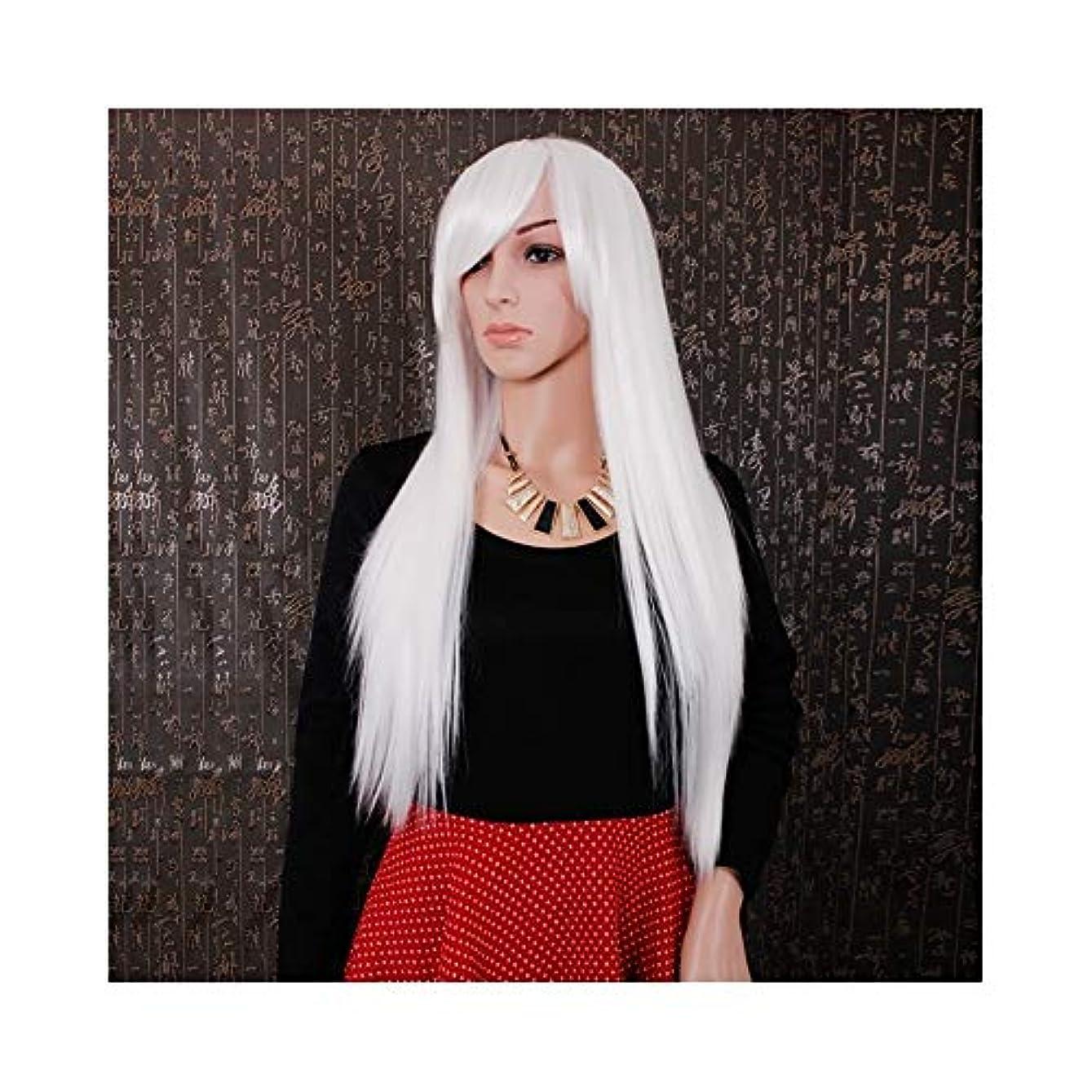 ウィッグ つけ毛 合成髪の女性のための斜めの部分コスプレ衣装デイリーパーティーウィッグ付きの白いロングストレートヘアウィッグ (色 : ホワイト, サイズ : 30