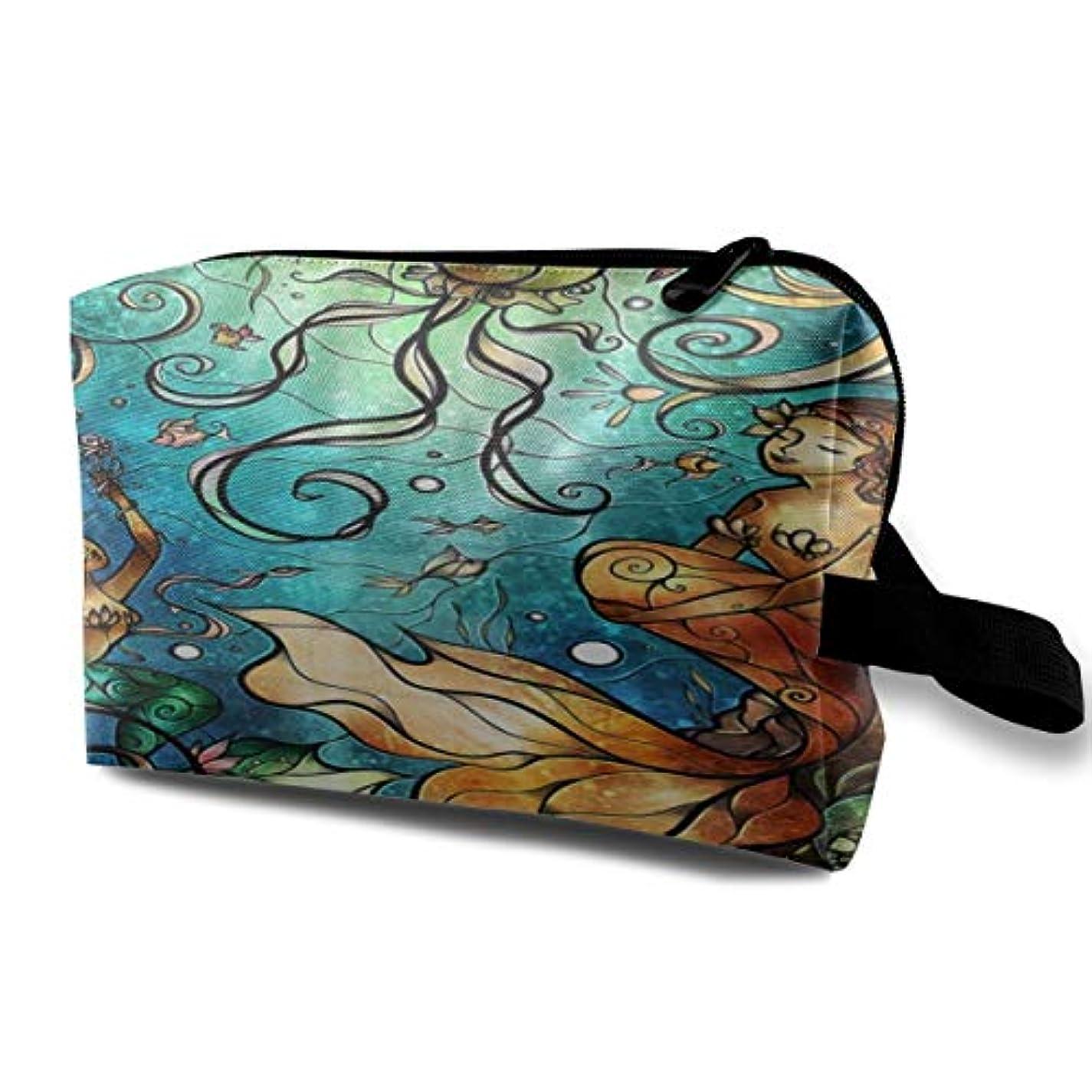 相対的乏しい幻想的Mermaid Under The Sea 収納ポーチ 化粧ポーチ 大容量 軽量 耐久性 ハンドル付持ち運び便利。入れ 自宅?出張?旅行?アウトドア撮影などに対応。メンズ レディース トラベルグッズ