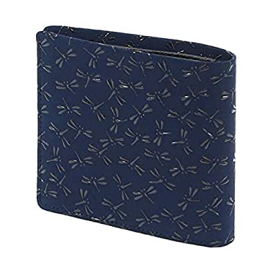 5e5e416fcd5e Amazon   INDEN-YA 印傳屋 印伝 財布 二つ折り財布 メンズ 男性用 紺×黒 ...