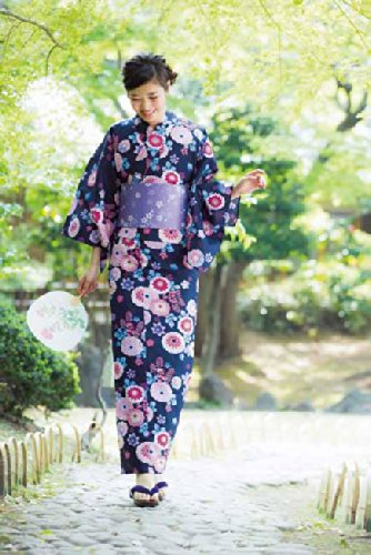 浴衣4点セット 紺地万寿菊 女性 レディース ゆかた 作り帯 結び帯 下駄 巾着