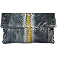 Genuine Python Leather Classic Foldover Clutch Bag