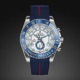 [ラバービー] RubberB ラバーベルト ROLEX ヨットマスターII(44mm)専用ラバーベルト(ROLEX純正バックルを使用)(ブルー×レッド)※時計は付属しません(Watch is not included)[並行輸入品]