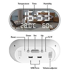 目覚まし時計 温度計 湿度計 デジタル 置き時計 大型LEDミラー表面デザイン 表示時間、温度、湿度、アラーム3組 三段輝度自動調節 USB電源式 (白)