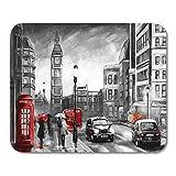 Emvency マウスパッド 油絵 キャンバス ロンドンの街の風景 ビッグベン レッド 傘 バス 道路電話 ブラック 車 タクシー ノートブック ..