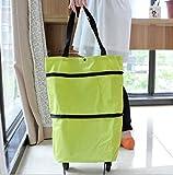 【未来ワールド】 MW-1 ショッピングキャリー キャスター付き 軽量 キャリーバック ショッピングカート 折りたたみ ショッピングバッグ ショッピング 2輪 キャスター キャリー 袋 買い物 エコ バーベキュー 旅行 (グリーン)