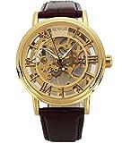 Amazon.co.jpSeworメンズゴールドスケルトン透明ヴィンテージスタイル腕時計