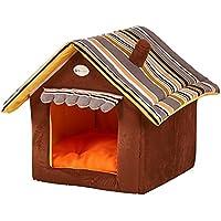 Yihiro ペットハウス 犬 猫用 三角屋根 ドット柄 室内用 犬小屋 秋冬 あったかぬくぬく 折りたたみ可 ペット用品 (L:(50*50*45cm), コーヒー)