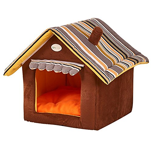 Yihiro 小型犬 猫用 ペットハウス 折りたたみ 室内用 犬小屋 三角屋根 3サイズ ドット ペ...