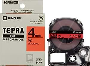 キングジム テープカートリッジ テプラPRO SC4R 4mm 赤