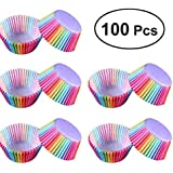 Colorful Rainbow Cake Paper 100 PCS Cupcake Liner Baking Muffin Box Cup Case Party Tray Cake Mold Decorating Tools