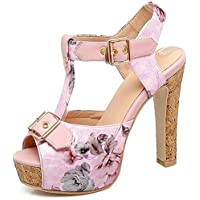 Surprise S Floral Print T Strap Sandals Women 2019 Slingback Dating Shoes Summer Super High Block Heels Platform Shoes