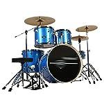 ドラム・パーカッション ドラム大人の子供の自己学習ジャズドラムパーティー楽器プロ演奏ドラムセット5ドラム3シンバル (Color : Blue, Size : 160*120CM)