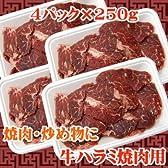 【商番1101】焼肉に最適カット 牛ハラミ焼肉用 1kg(250g×4)