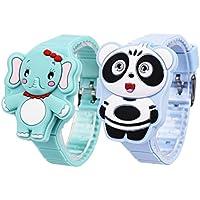 子供 腕時計 防水 男の子 女の子 可愛い動物型 デジタル LEDライト キッズ 腕時計 シリコンプレゼント 2枚セット CkeyiN(グリンー/ライト)