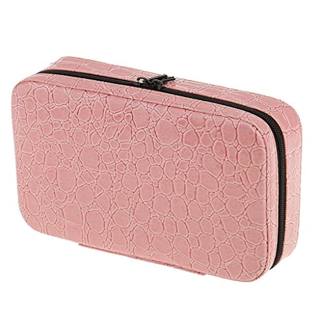 スリップシューズ魂戦争P Prettyia 収納バッグ ケース エッセンシャルオイル 精油 大容量 精油収納 携帯用 アロマケース PUレザー 全5色 - ピンク