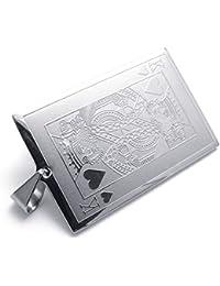[テメゴ ジュエリー]TEMEGO Jewelry メンズステンレススチールペンダントキングハーツのカードポーカーネックレス、シルバー[インポート]