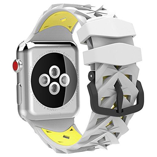 Apple Watch バンド 38mm 42mm シリコン アップルウォッチバンド series3/2/1対応 二重バンド iwatch交換ベルト (38mm, イエロー+ホワイト)