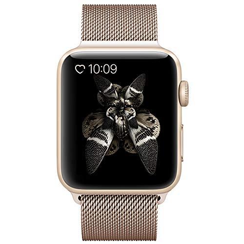 BRG コンパチブル apple watch バンド,ミラネーゼループ アップルウォッチバンド アップルウォッチ1 apple watch series 2 apple watch series 3 ステンレス留め金製(42mm,series2ゴールド)18ヶ月保証付き