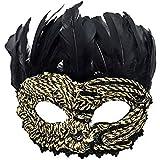 Nanle ハロウィーンクリスマスレースフェザースパンコール刺繍マスク仮装マスクレディーメンズミスプリンセス美容祭パーティーデコレーションマスク(カップルモデル) (色 : Style B)