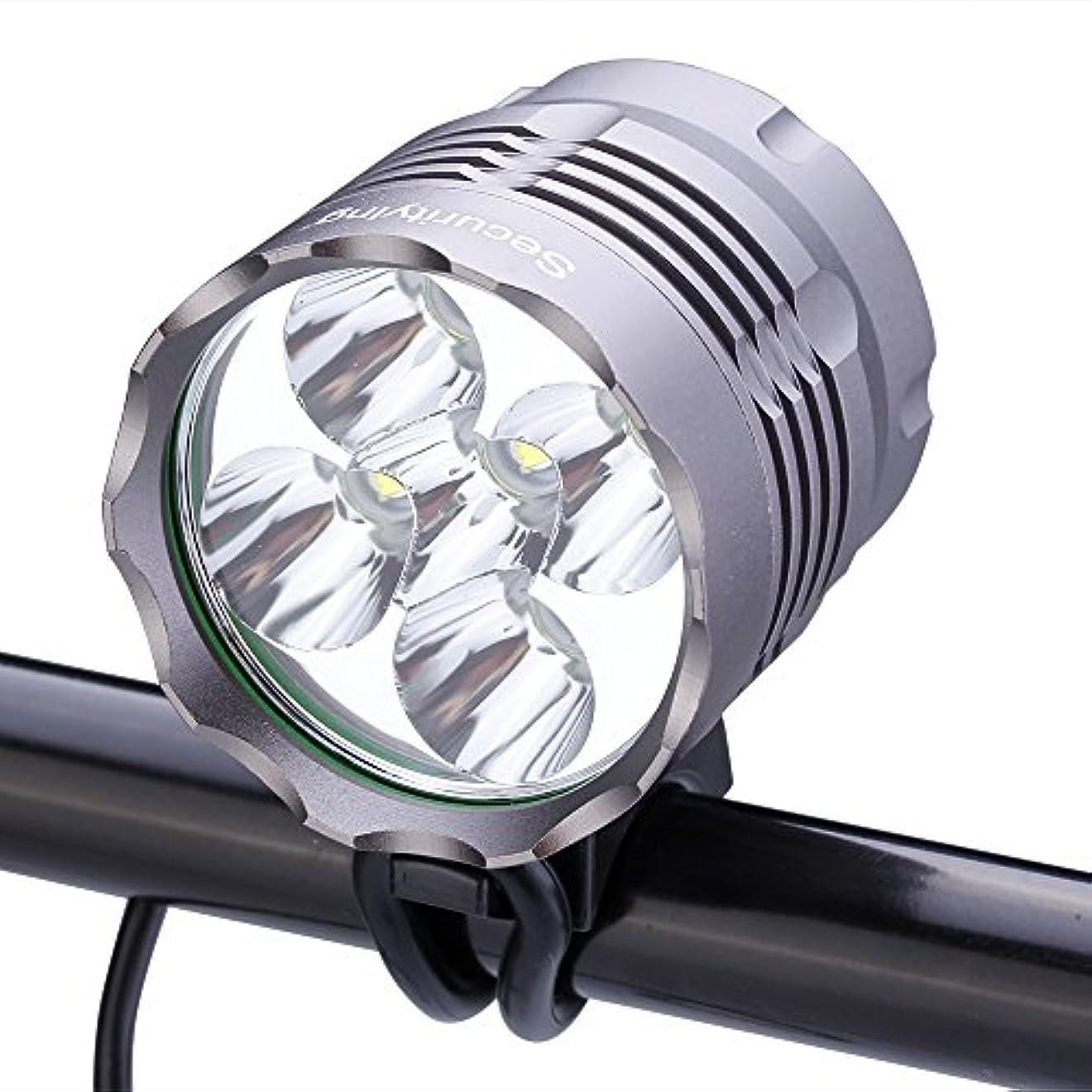 部族不実中断SecurityIng 防水 2500ルーメン LED 自転車ライト3モード 高輝度 ヘッドランプ 8.4V 8000mAh バッテリーパック&充電器付き