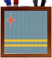 Rikki Knight Aruba Flag on Distressed Wood Design 5-Inch Wooden Tile Pen Holder (RK-PH8670) [並行輸入品]