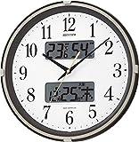 リズム時計 電波 掛け時計 アナログ デジタル フィットウェーブリブ 温度 湿度 カレンダー 表示付 茶 メタリック色 RHYTHM 4FYA07SR06