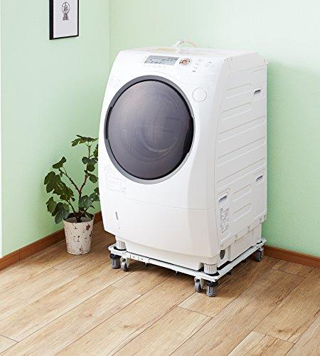 平安伸銅工業 角パイプ洗濯機台 ホワイト 耐荷重150kg(移動時100kg) 幅48~78cm 奥行き39~61cm DSW-151