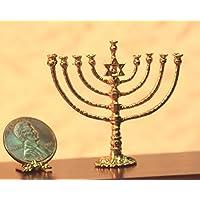 ドールハウスミニチュアゴールド仕上げJewishメタル燭台for Chanukah by島Crafts &ミニチュア