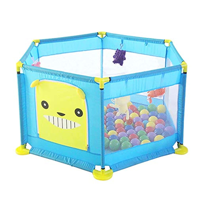 BSNOWF-ベビーサークル ポータブルセーフティプレイペン、アンチロールオーバー折り畳み式ベビープレイヤード、幼児用ルームディバイダーフェンス、6パネル (色 : 青)