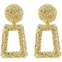 ATIMIGO Statement Drop Earrings Large Metal Geometric Dangle Earrings Gold for Women Girls