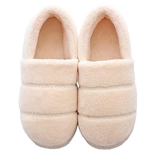 [HAPLUE] 綿の靴 ルームシューズ コットンスリッパ 男女兼用 暖かい 厚い底 カップル かわいい インドア 足首まで暖かルームブーツ 冬用 防寒 (24.5~25.0 cm, ベージュ)