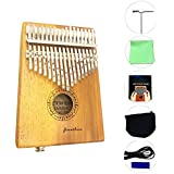 Anordsem 17 Keys Finger Thumb Piano, Kalimba Solid Acacia Wooden Portable Musical Instrument Key C + Calibrating Tune Hammer + Storage Bag for Kids Adults