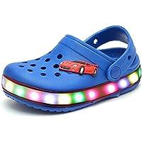 Marolaya Children Boys Girls LED Clog Flash Lighted Summer Beach Shoes Walking Slippers Unisex Sandal Animals Shoe
