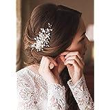 Kercisbeauty Wedding Bridal Bridesmaids Flower Girl Vintage Crystal Pearl Combs Headband Bridal Hair Comb Headpiece...