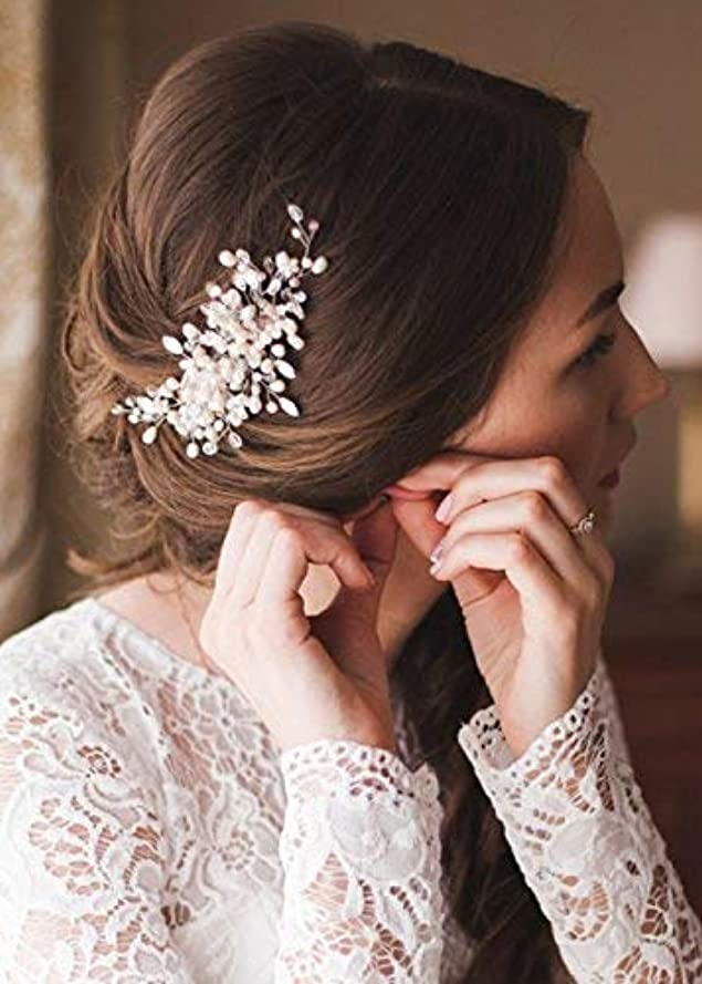 システム飢えた敬意を表するKercisbeauty Wedding Bridal Bridesmaids Flower Girl Vintage Crystal Pearl Combs Headband Bridal Hair Comb Headpiece...