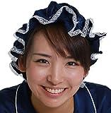 シルク ナイトキャップ 絹 100% 髪 トリートメント かわいい 枝毛 防止 フリーサイズ, (フリーサイズ, ネイビー)