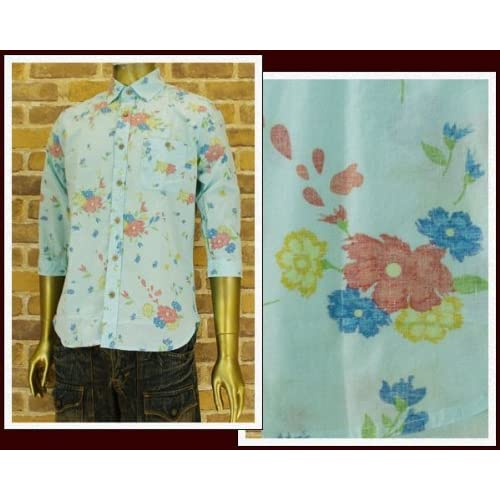 キャンディファンタジー CANDY FANTASY フラワー 7分袖シャツ メンズ 14350-1 ブルー L