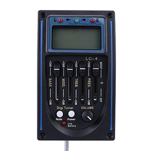 Dasbent(TM)熱い販売EQLC-4 4バンドEQイコライザーシステムアコースティックギタープリアンプピエゾピックアップLCDスクリーンチューナーオートとマニュアルチューニングモード