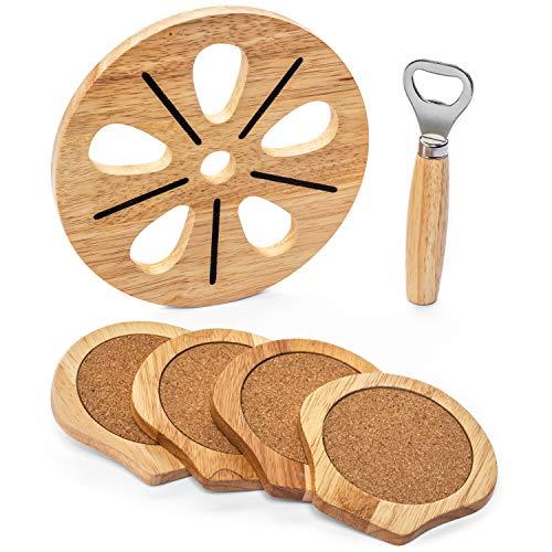 『Best Kitchen Essentials まな板 厚手木製ブロック チョッピングカービングボード 1台 竹製チーズボードオーガナイザー 木製コースター4枚 栓抜き1つ 大型マット1つ 鍋つかみギフトセット』の3枚目の画像
