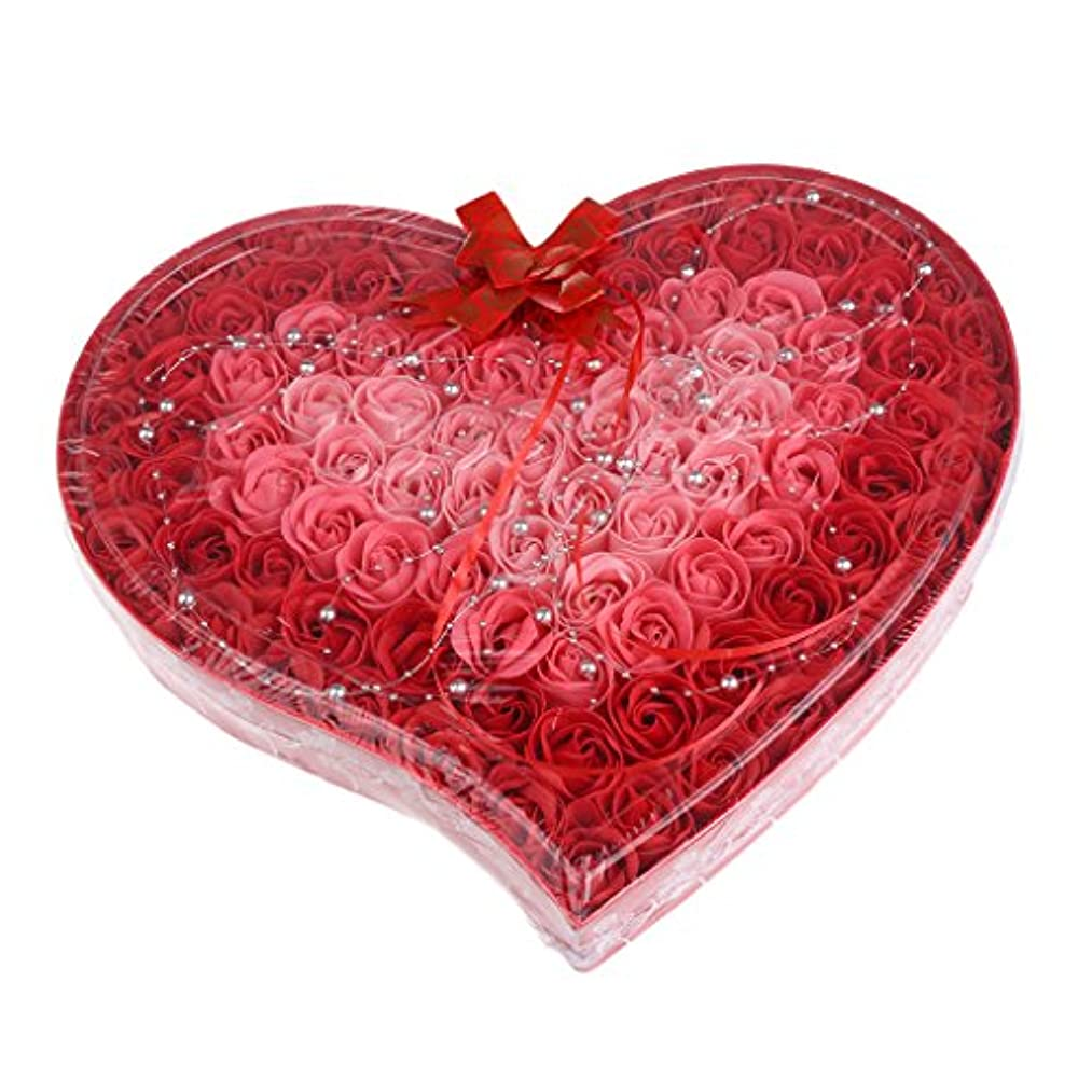 Baoblaze 石鹸の花 母の日 プレゼント 石鹸 お花 枯れないお花 心の形 ギフトボックス 約100個 プレゼント 4色選択可 - 赤