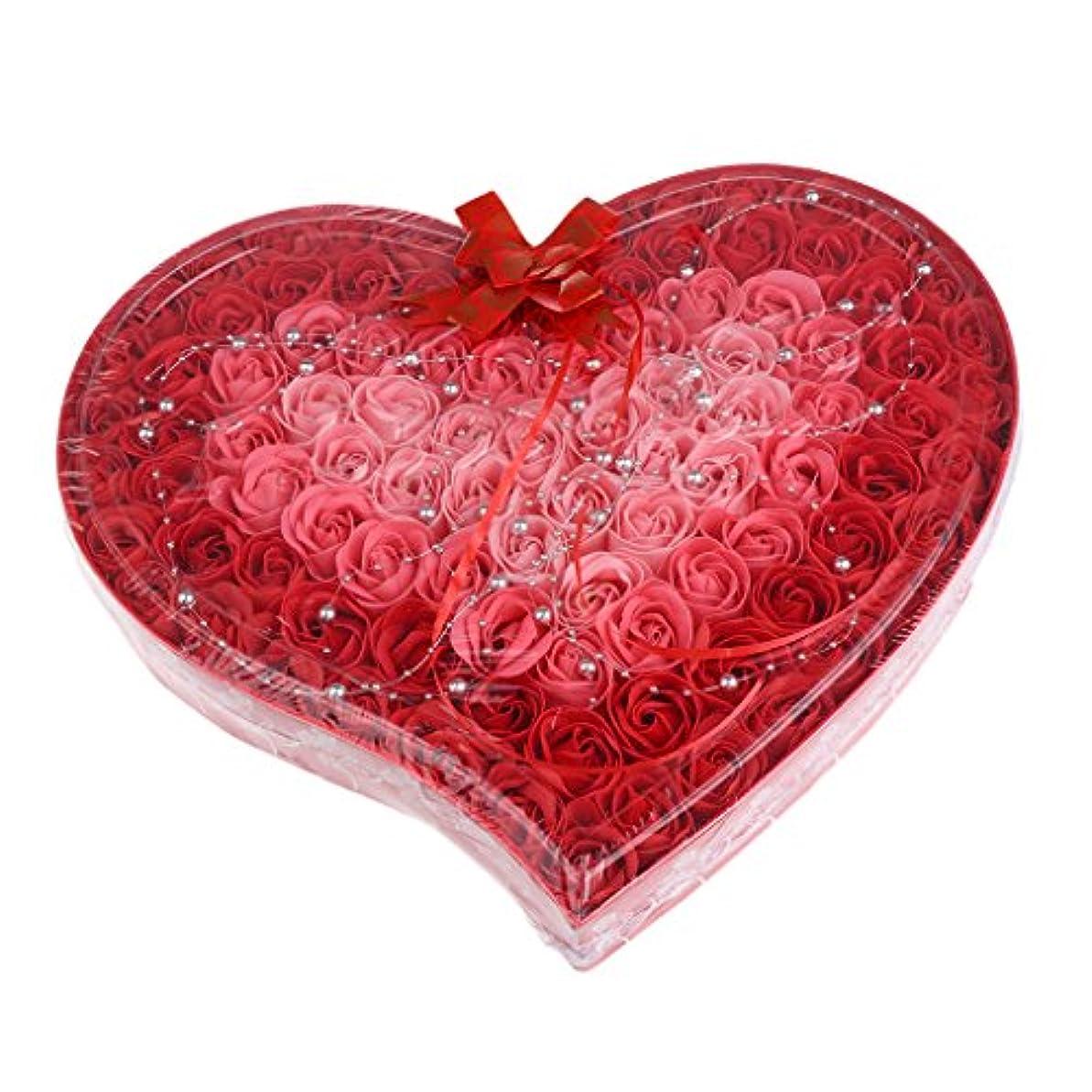 と遊ぶのり癒すBaoblaze 石鹸の花 母の日 プレゼント 石鹸 お花 枯れないお花 心の形 ギフトボックス 約100個 プレゼント 4色選択可 - 赤