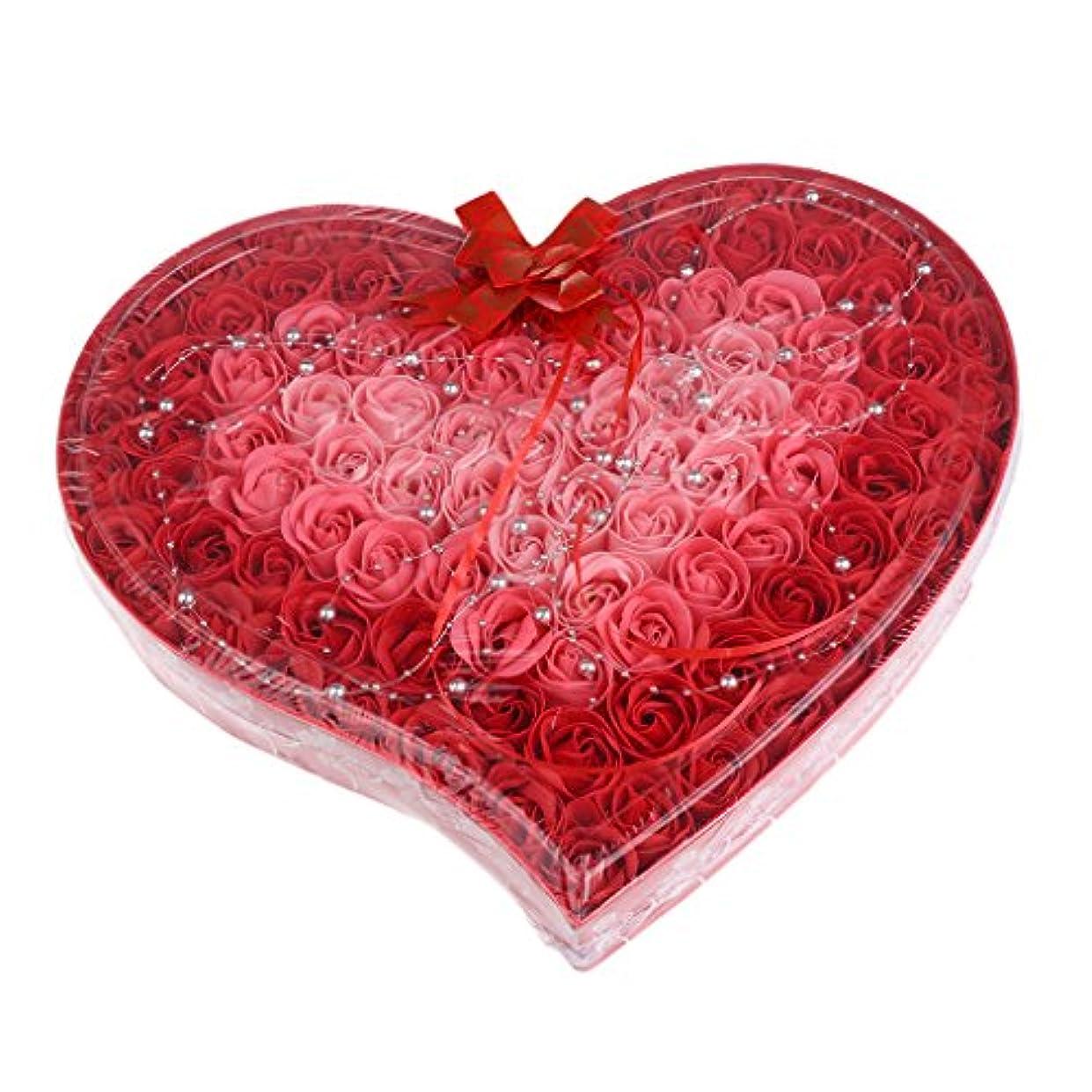メタルライン助けてインポートBaoblaze 石鹸の花 母の日 プレゼント 石鹸 お花 枯れないお花 心の形 ギフトボックス 約100個 プレゼント 4色選択可 - 赤
