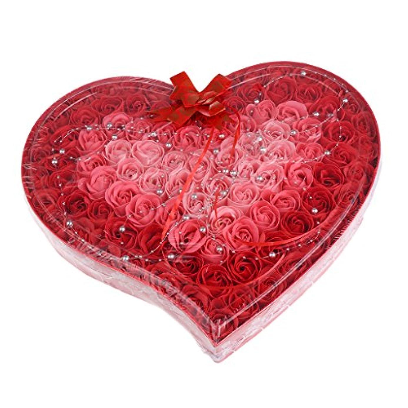 お互い暴露するホールドBaoblaze 石鹸の花 母の日 プレゼント 石鹸 お花 枯れないお花 心の形 ギフトボックス 約100個 プレゼント 4色選択可 - 赤