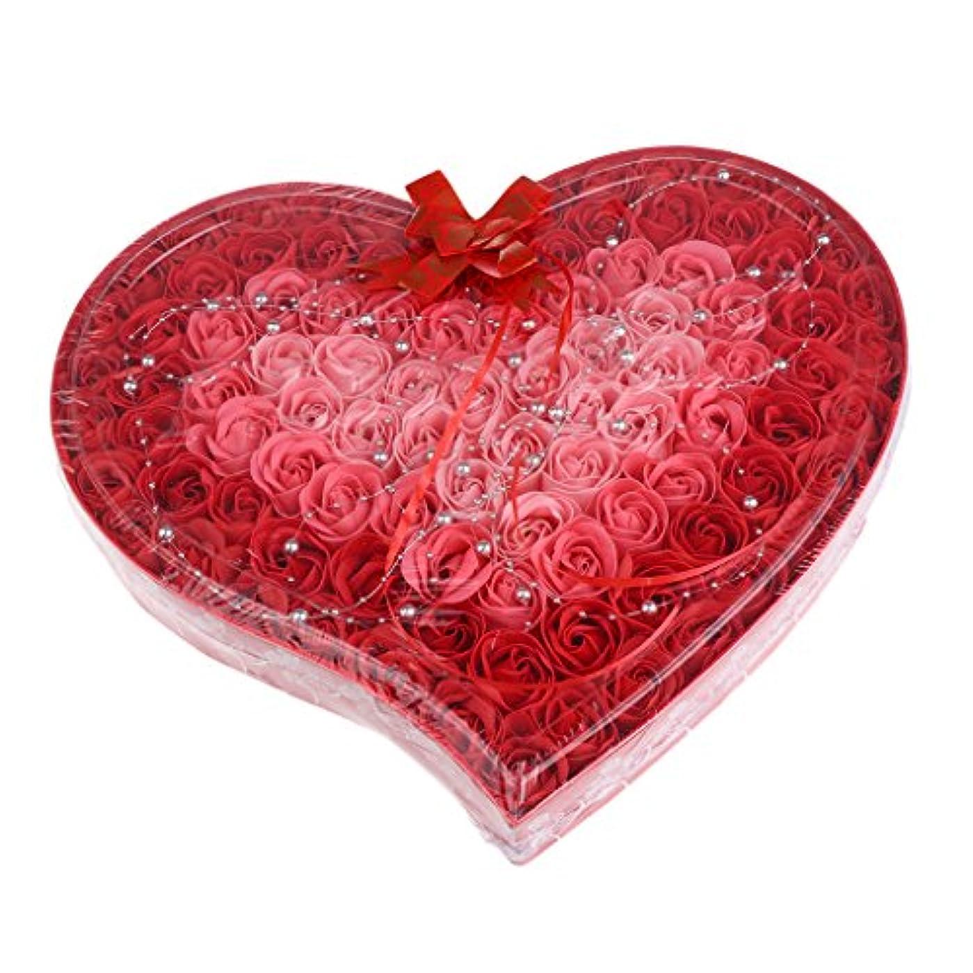 パドル疎外する裏切り者Baosity 約100個 ソープフラワー 石鹸の花 母の日 心の形 ギフトボックス バレンタインデー ホワイトデー 母の日 結婚記念日 プレゼント 4色選択可 - 赤